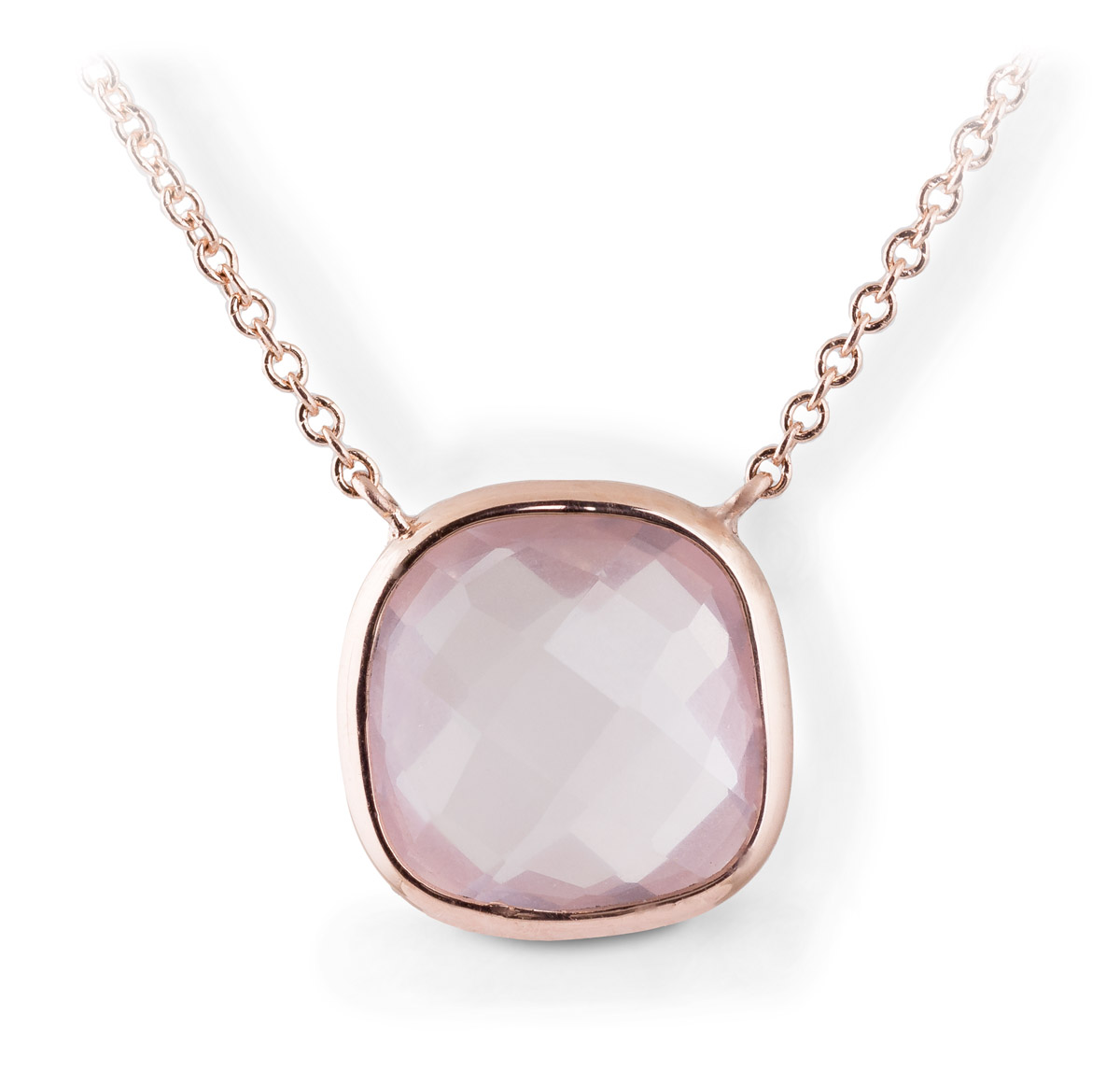Rose Quartz Cushion Bezel Pendant