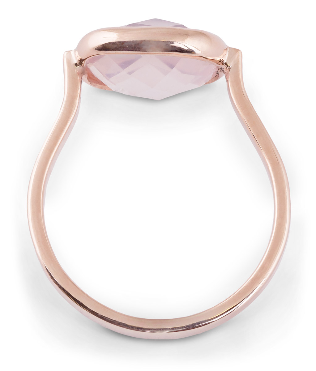 Rose Quartz Cushion Bezel Ring - Top