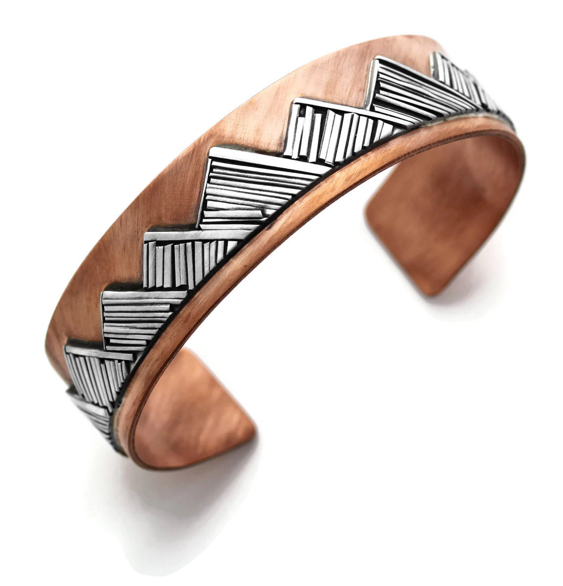 Mountain Cuff Bracelet in Copper and Sterling Silver - angled
