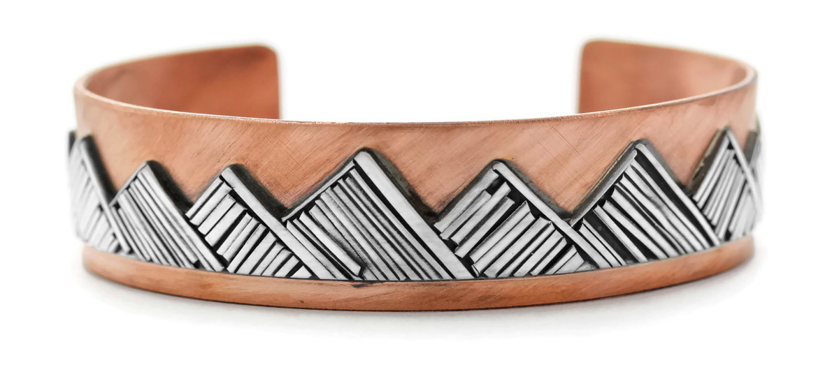 Mountain Cuff Bracelet in Copper and Sterling Silver