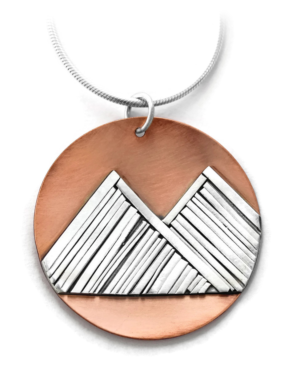 Jen Lesea : Double Mountain Necklace in Copper and Sterling Silver