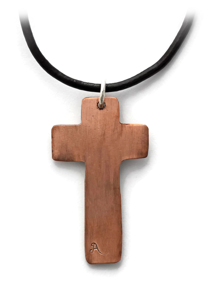 Cross Pendant in Copper and Sterling Silver - Back