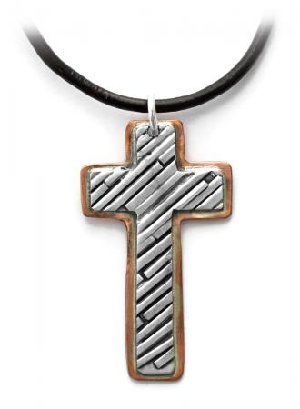 Jen Lesea : Cross Pendant in Copper and Sterling Silver