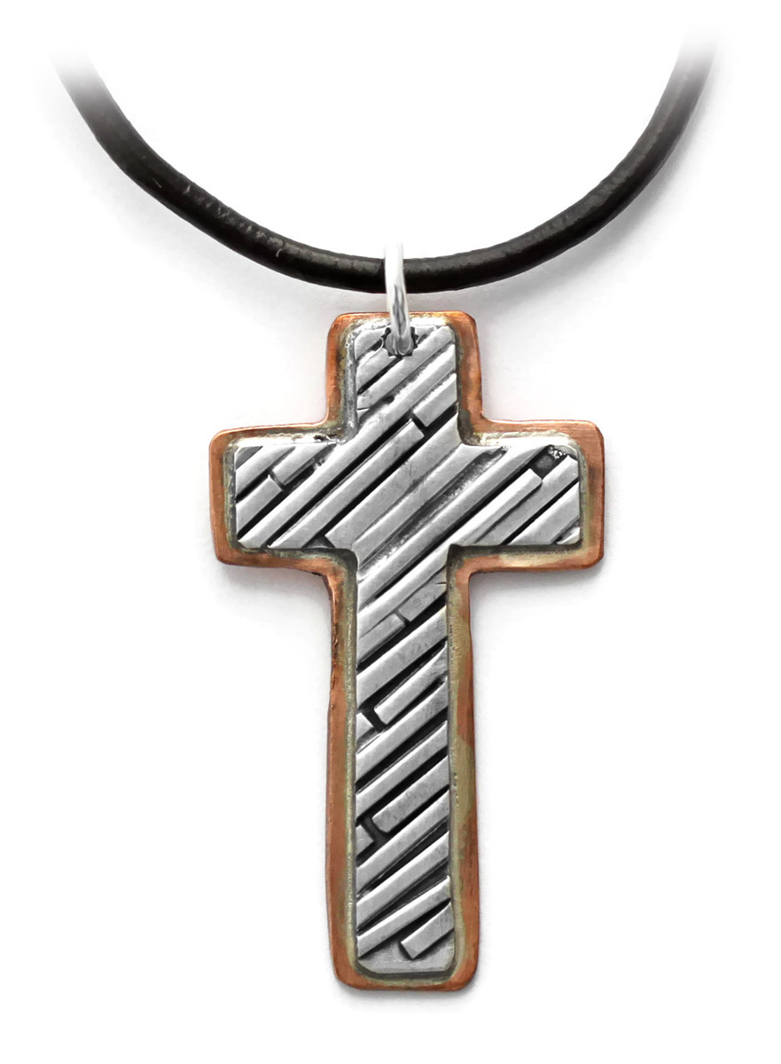 Cross Pendant in Copper and Sterling Silver