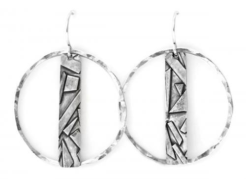 Geometric Bar and Circle Earrings