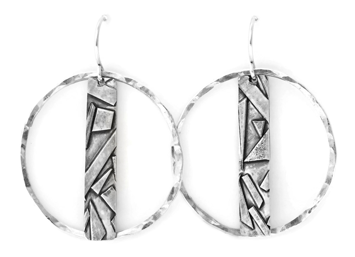 Jen Lesea : Geometric Bar and Circle Earrings