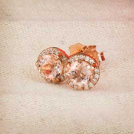 Rose gold and morganite halo stud earrings