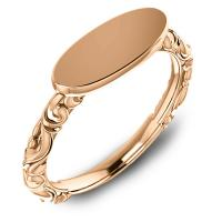 Rose gold personalizable engravable signet ring