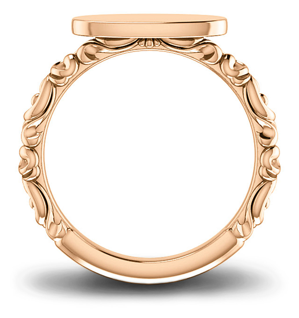 Rose gold personalizable engravable signet ring - side