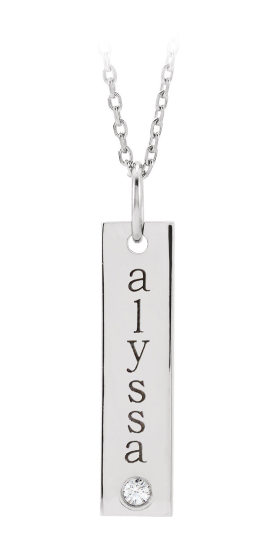 Personalized engravable diamond accented bar pendant - white