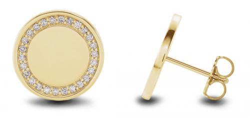 Engravable Halo Diamond Earrings