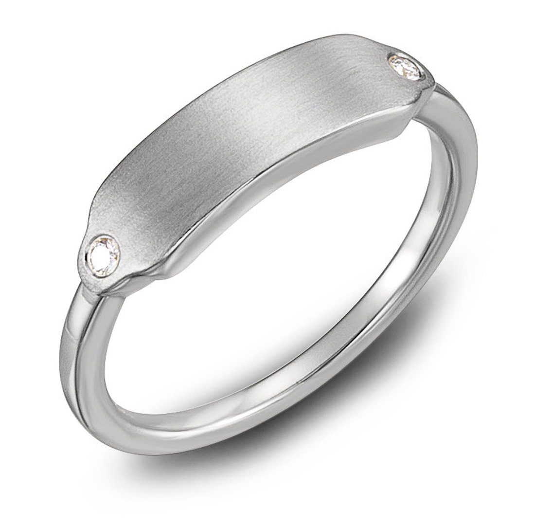 Engraved ring with diamond accents - white