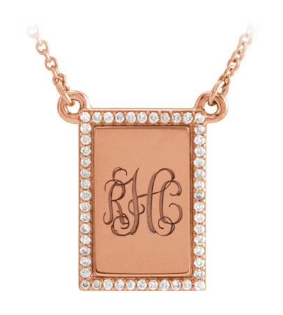Diamond Custom Monogram Square Pendant