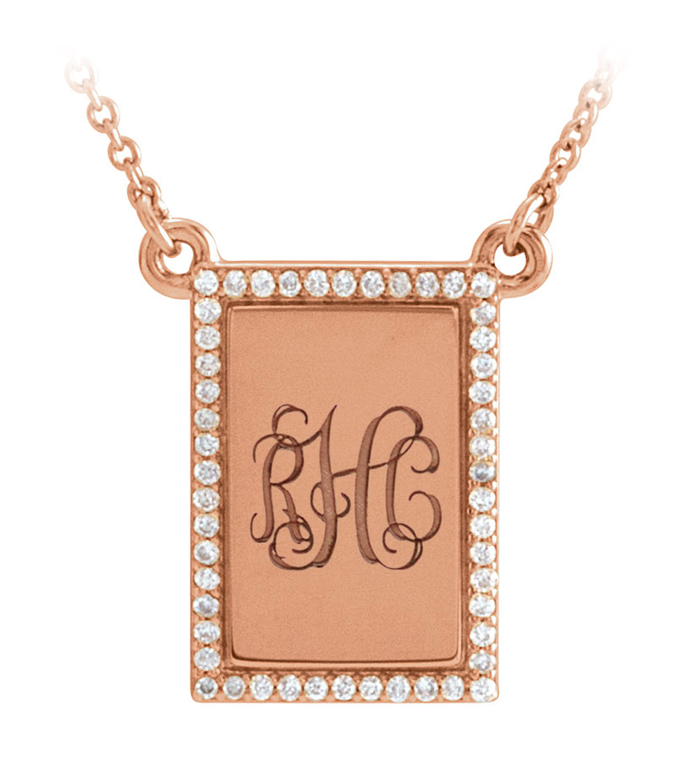 Personalized custom initial monogram pendant with diamonds - rose gold