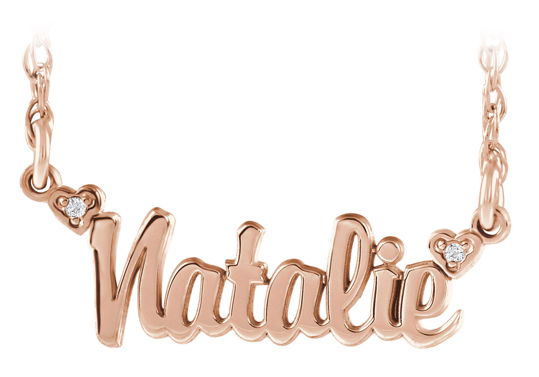 Personalized name pendant with diamonds - rose gold