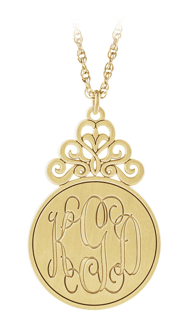 Custom engraved monogram circular pendant - yellow gold