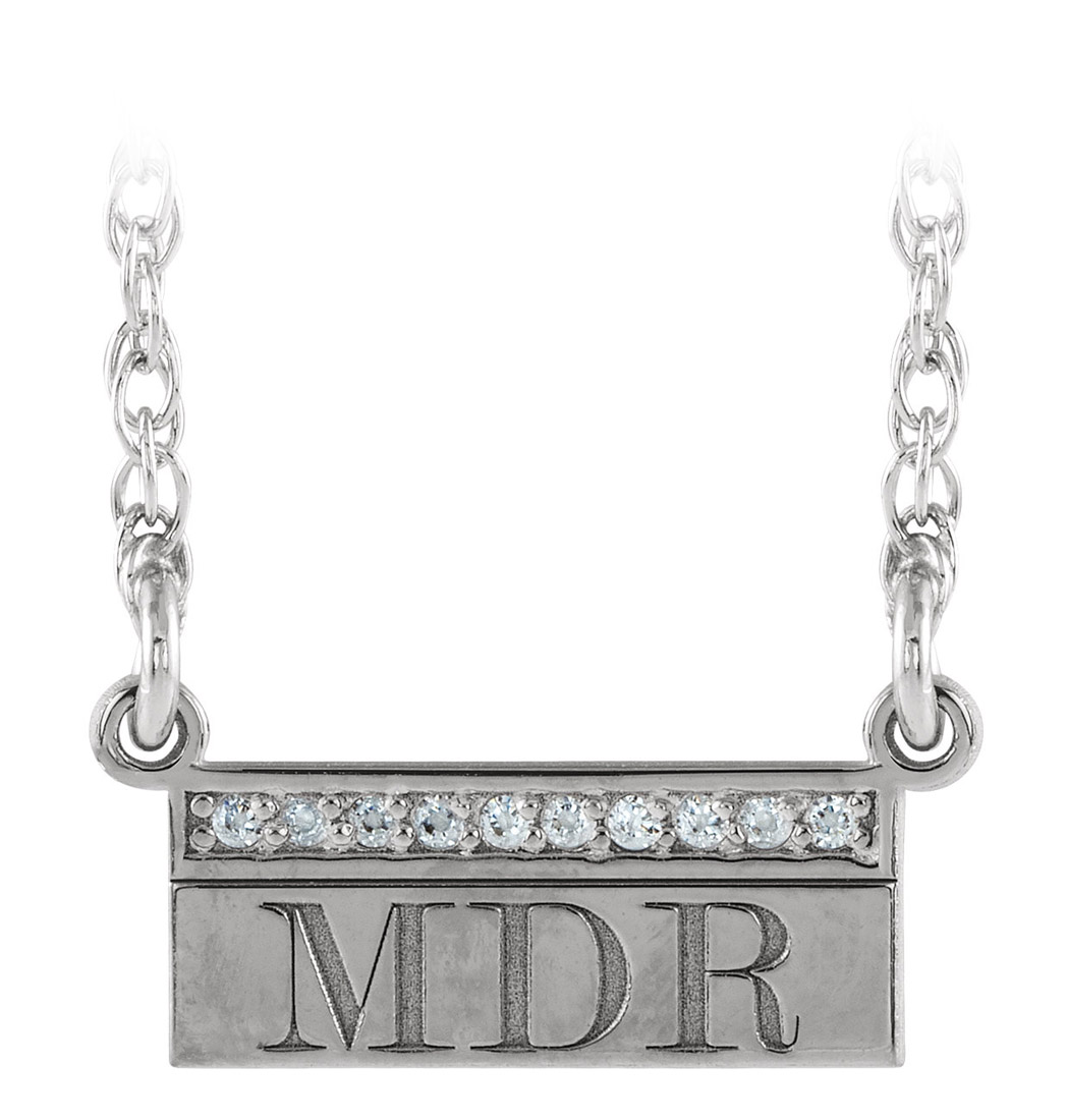 Modern monogram engraved initial pendant with diamonds - white