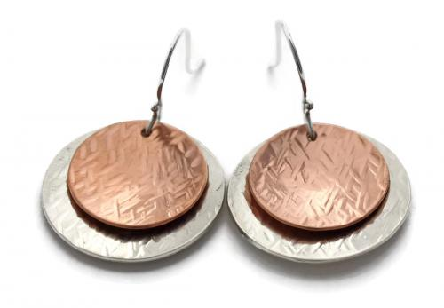 Two-Tone Hammered Disc Earrings