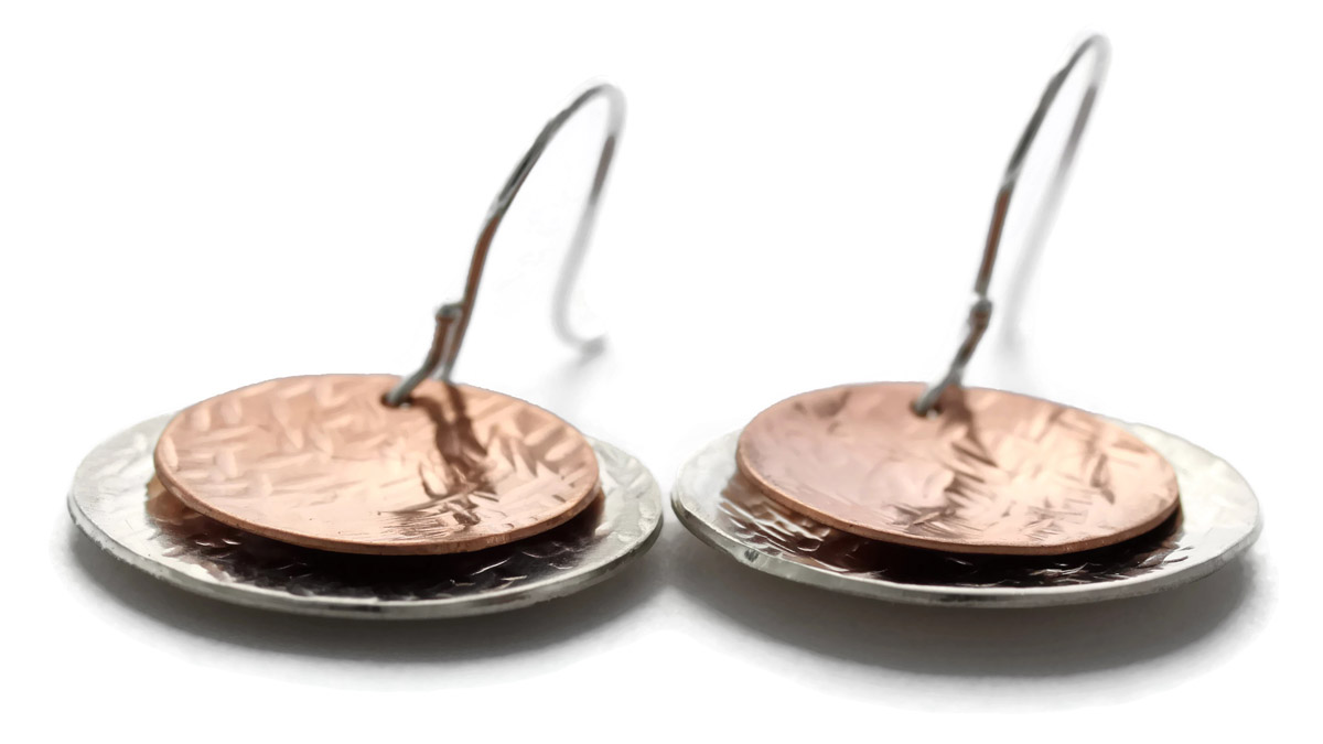 Two-Tone Hammered Disc Earrings - Angled