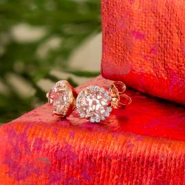 Morganite halo stud earrings
