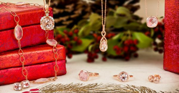 Rose gold and morganite and rose quartz jewelry gifts