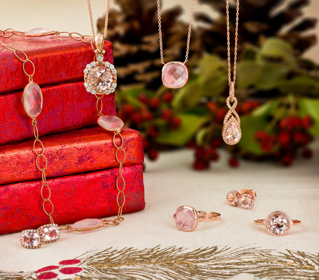 Rose gold with morganite and rose quartz jewelry