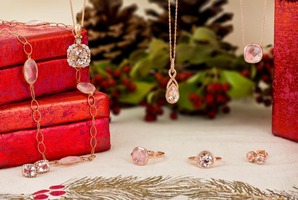 Jewelry gifts featuring rose gold with morganite and rose quartz