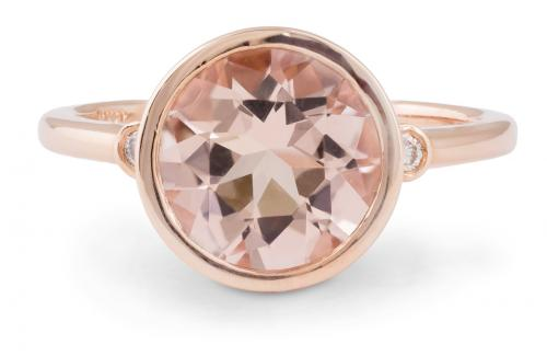 Rose Gold Morganite Bezel Ring with Diamond Accents