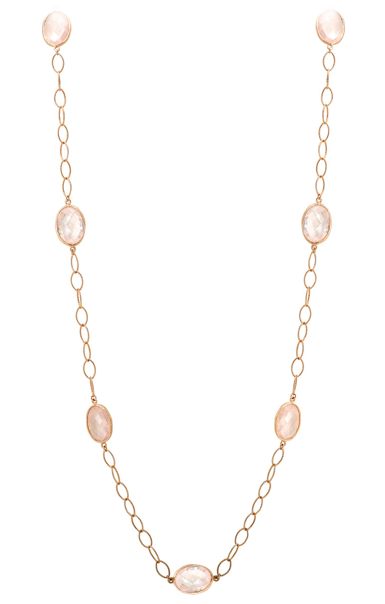 Rose Quartz Bezel Necklace - Long View