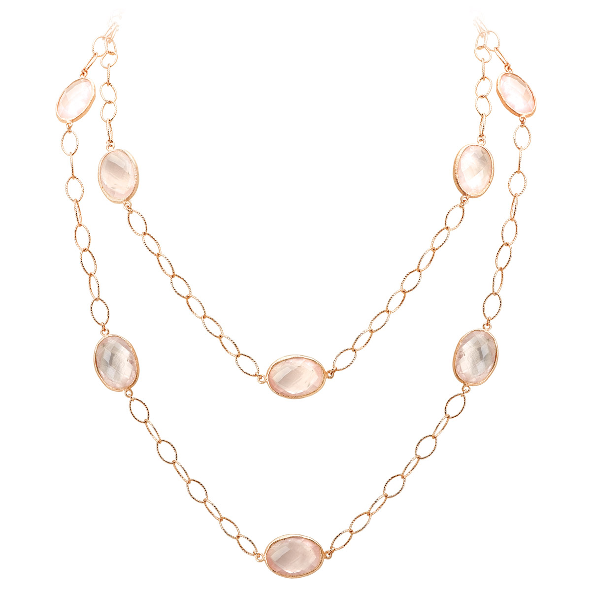 Rose Quartz Bezel Necklace - Doubled