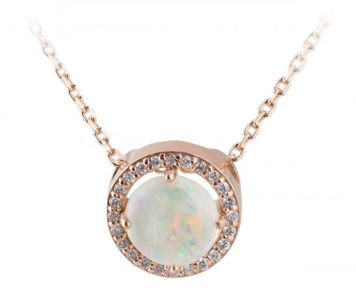 Opal Rose Gold Diamond Halo Slide Pendant