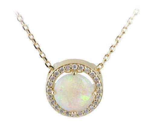 Opal Yellow Gold Diamond Halo Slide Pendant