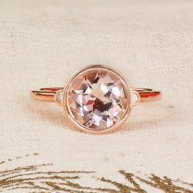 Rose gold morganite and diamond bezel ring front