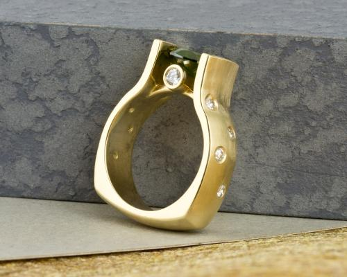 Green diamond engagement ring in yellow gold with diamond accents - side