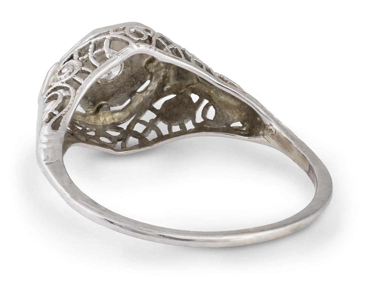Vintage Filigree Old Mine Diamond Solitaire Engagement - Back