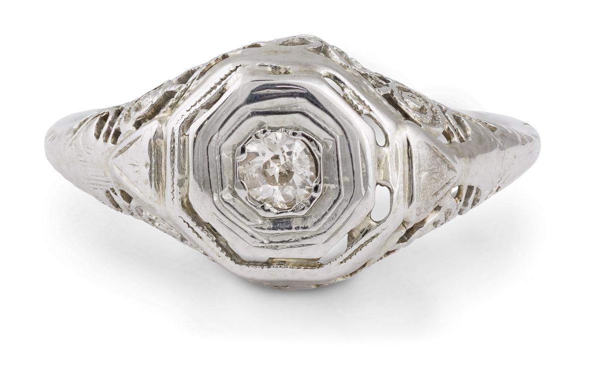 Vintage Filigree Old Mine Diamond Solitaire Engagement