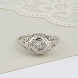 Vintage Filigree Old Mine Diamond Solitaire Engagement
