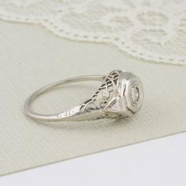 Vintage Filigree Old Mine Diamond Solitaire Engagement - Side