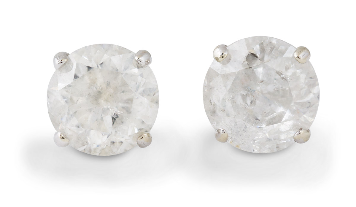 Large Diamond Stud Earrings