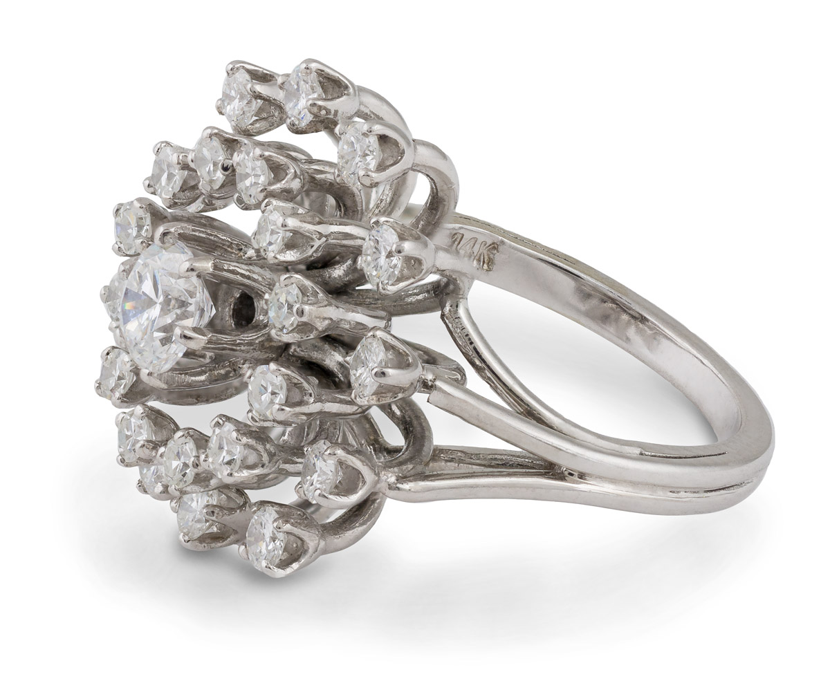 Vintage Diamond Cluster Cocktail Ring - Side