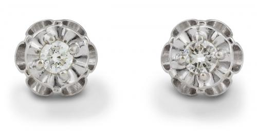 Vintage Floral Diamond Stud Earrings