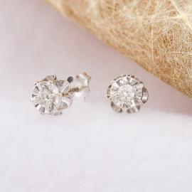 Vintage Floral Diamond Stud Earrings - 1