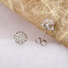 Vintage Floral Diamond Stud Earrings - 2