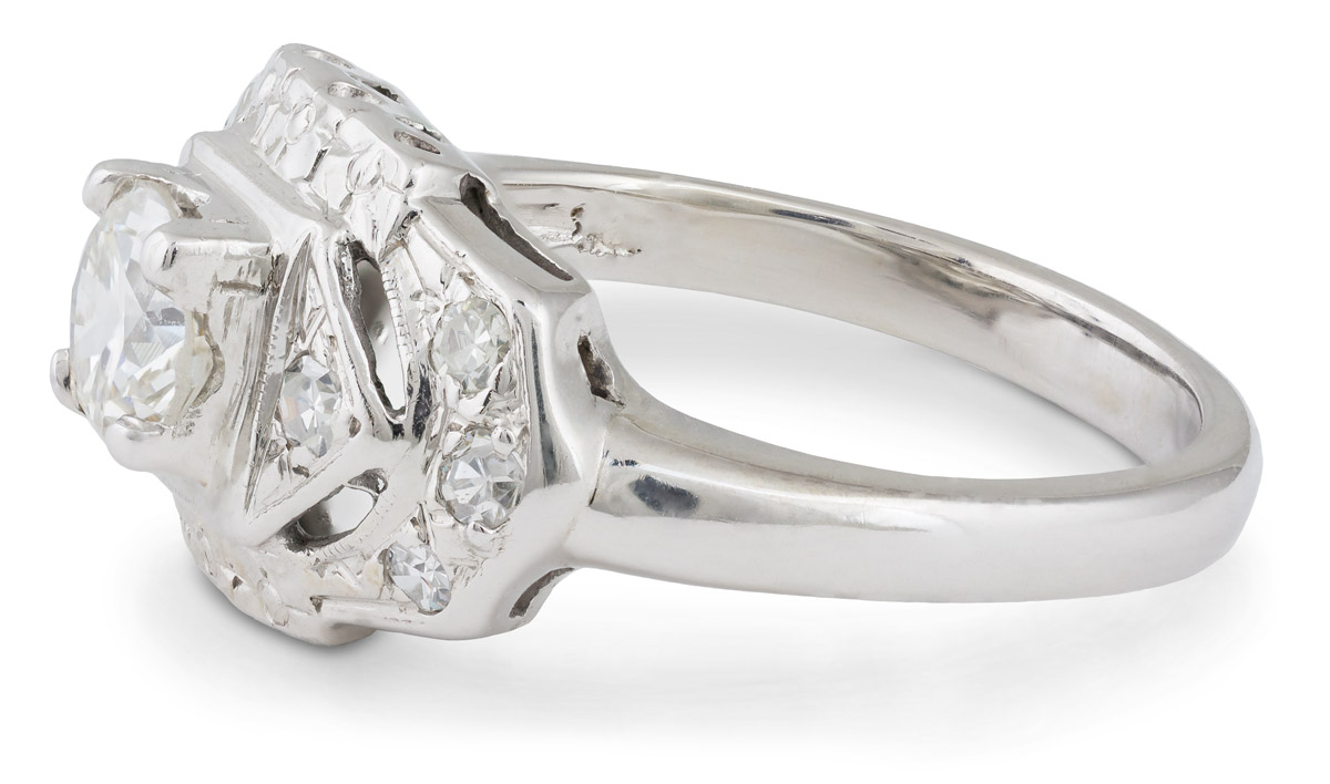 Vintage Art Deco Diamond Engagement Ring - Side