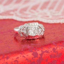 Vintage Art Deco Diamond Engagement Ring - Front