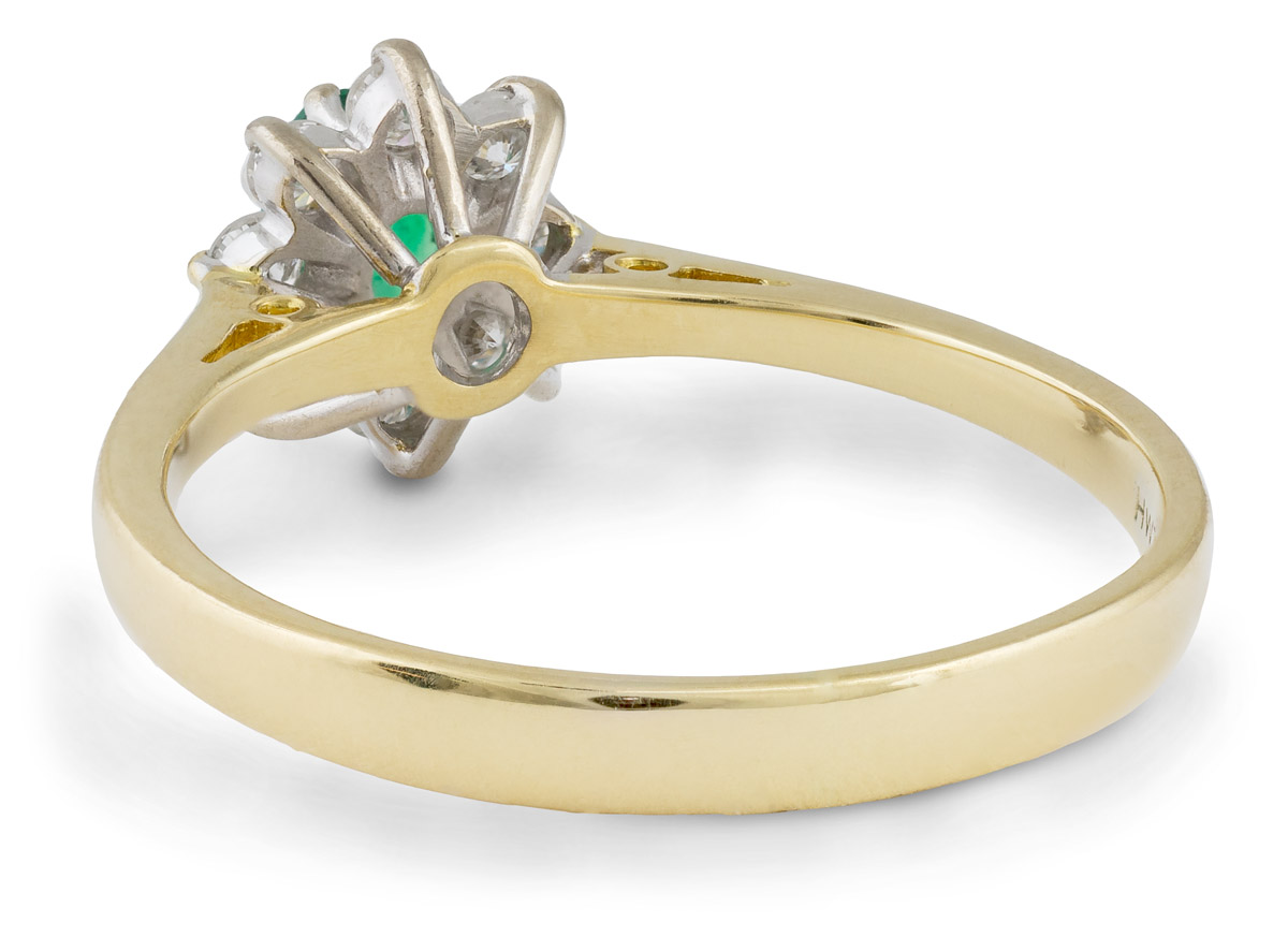Vintage Filigree Emerald Ring With Diamond Halo - Back