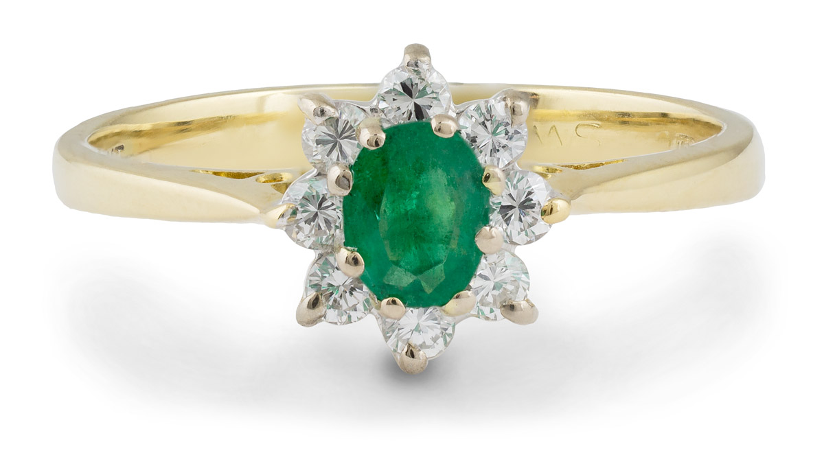 Vintage Filigree Emerald Ring With Diamond Halo