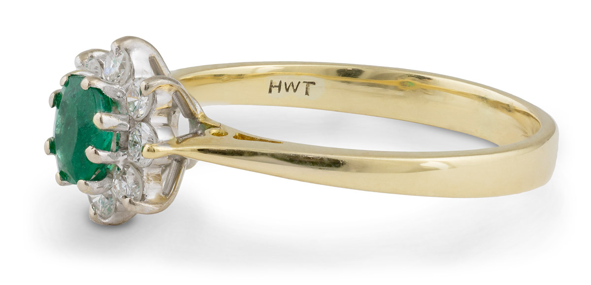 Vintage Filigree Emerald Ring With Diamond Halo - Side