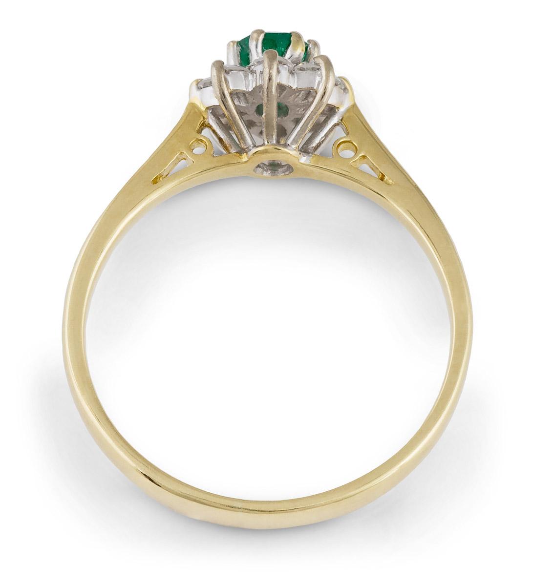 Vintage Filigree Emerald Ring With Diamond Halo - Top
