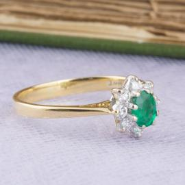 Vintage Filigree Emerald Ring With Diamond Halo - Side
